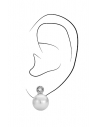 Traveller clip earring - 12mm white pearl - rhodium plated - 113487