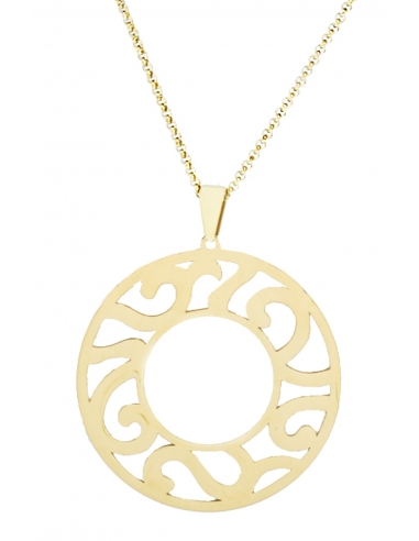 Traveller Pendant with chain - Stainless steel - Gold plated - 70/80 cm - 181019